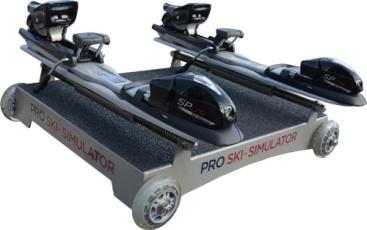 vozík k lyžařskému trenažeru pro cvičení v lyžařských botech - simulace upevnění nohou v lyžích, fixace vzdálenosti mezi lyžemi